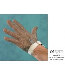 Guanto in acciaio inox, antitaglio, 5 dita con cinturino, disponibile taglie da XXS a XL