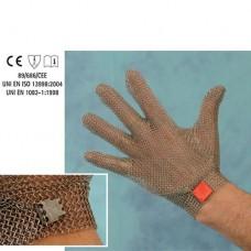 Guanto in acciaio inox, antitaglio, 5 dita con gancetto plastico, disponibile taglie da XXS a XL