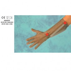 Guanto in acciaio inox, antitaglio, 5 dita, lunghezza avambraccio con gancetto plastico, disponibile taglie da XXS a XL