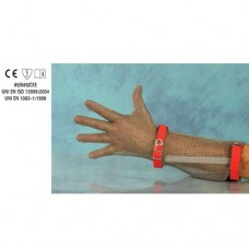 Guanto in acciaio inox, antitaglio, 5 dita, lunghezza avambraccio con cinturino plastico, disponibile taglie da XXS a XL
