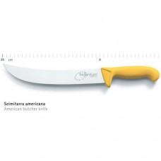 Coltello professionale scimitarra americana, lama da 25 cm, manico giallo in nylon garantisce una presa salda ed ergonomica anche nei cambi d'impugnatura