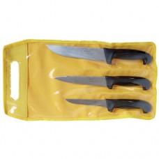 Set composto da 3 coltelli professionali, realizzati in acciaio di alta qualità con trattamento lucido, manico nero