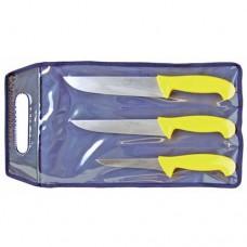 Set composto da 3 coltelli professionali, realizzati in acciaio di alta qualità con trattamento lucido, manico giallo