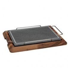 Pietra con portapietra in legno di noce, spessore pietra 2 cm, dimensioni pietra 250x250x20 mm, dimensioni portapietra 350x350x32 mm