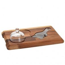 Tagliere in noce per tagliatartufo, completo di tagliatartufo in acciaio inox e campana in vetro, dimensioni 450x350x32h mm
