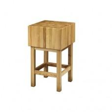 Ceppo con sgabello in legno di acacia, dimensioni 70x70xh90cm, spessore ceppo 25 cm