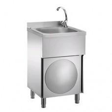Lavamani, lavautensili in acciaio inox, miscelatore acqua calda/fredda, vasca da 400x400x250mm, dimensioni 50x50xh85cm