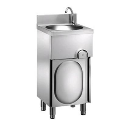 Lavamani in acciaio inox, porta a battente, comando a ginocchio, dimensioni 40x40xh85 cm