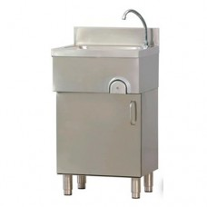 Lavamani in acciaio inox, porta a battente, comando a ginocchio, dimensioni 50x40xh85 cm