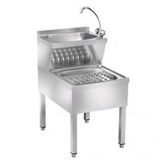 Lavamani, lavastracci in acciaio inox, con rubinetto acqua calda e fredda, dimensioni 70x50xh89 cm