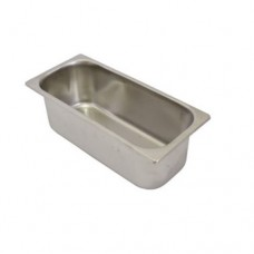 Vaschetta per gelato in acciaio inox AISI 304 18/10, dimensioni 260x165xh120 mm, capacità 3,5 lt