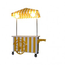 Carretto ideale per feste,con tetto regolabile,  piano di lavoro laminato per alimenti 140x80 cm, con 2 lampade