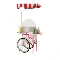Carrettino SC-MINI CANDY, per zucchero filato con tettuccio in tessile e lampada a palloncino, Dimensioni LxPxH 110x60x200 cm
