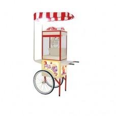 Carrettino SC-MINI POP, per pop corn con tettuccio in tessile e lampada a palloncino, Dimensioni LxPxH 110x60x200 cm