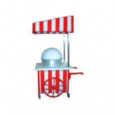 Carretto ideale per feste,con tetto regolabile,  piano di lavoro laminato per alimenti 100x80 cm, con 1 lampade