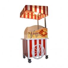 Carretto ideale per feste,con tetto regolabile, piano di lavoro laminato per alimenti 100x80 cm, con frigorifero ventilato +2+8 °C da 60 lt