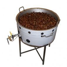 Cuocicastagne professionale su gambe, cottura a gas, capacità 5 kg, a norme CE,monofase, dimensioni 65x85x86 cm