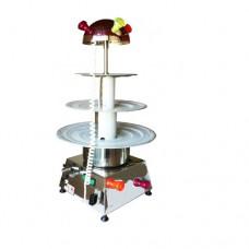 Fontana ad acqua in acciaio inox da tavolo,a 3 piani,da 6 lt e alta 95 cm , norma CE, con illuminazione intermittente, 230 V monofase