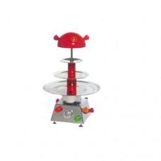 Fontana ad acqua in acciaio inox da tavolo,3 piani, da 3 lt e alta 77 cm,norma CE, con illuminazione intermittente, 230 V monofase