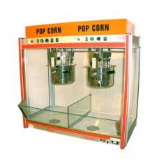 Macchina professionale per pop-corn a 2 pentole, a norma CE, 220 V monofase, dimensioni 105x57x103 cm