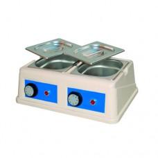 Sciogli cioccolato analogico a 2 vasche, capacità 1,5 x2 lt, temperatura regolabile fino a 50° C, contenitore e coperchio in acciaio inox