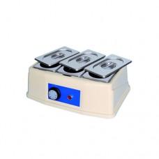 Sciogli cioccolato analogico a 3 vasche, capacità 0,8 x3 lt, temperatura regolabile fino a 50° C, contenitore e coperchio in acciaio inox