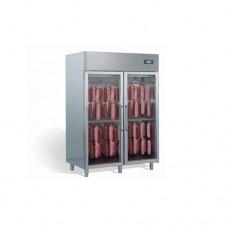 Armadio di asciugatura e stagionatura salumi in acciaio inox con porte in vetro, dimensioni 1240x850xh2030 mm, capacità 100-140 kg