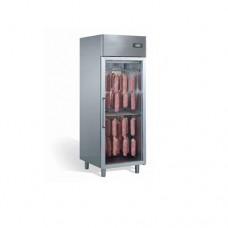 Armadio di asciugatura e stagionatura salumi in acciaio inox con una porta in vetro, dimensioni 710x850xh2030 mm, capacità 50-60 kg