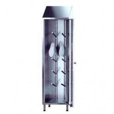 Armadi porta stivali con ante a battente costruiti in acciaio inox AISI 304, tetto inclinato, capacità 5 paia di stivali, a norma HCCP dimensioni 500x500x2150h mm