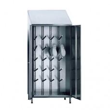 Armadi porta stivali con 2 ante a battente costruiti in acciaio inox AISI 304, tetto inclinato, capacità 10 paia di stivali, a norma HCCP, dimensioni 950x500x2150h mm