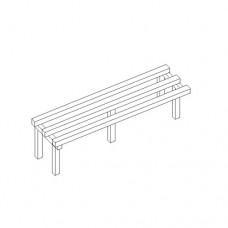 Panchina a 3 posti, con seduta a 3 doghe in legno verniciata al naturale, puntali in gomma, fornita montata, dimensioni 1000x350x450h mm