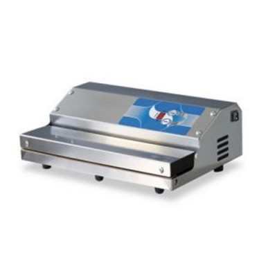 Confezionatrice ad estrazione esterna in acciaio inox, barra saldante 350 mm, dimensioni 370x260x130 h, modello 350