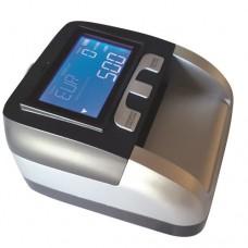 Verificatore di banconote automatico multi controllo che consente, con estrema velocità, la verifica di tutte le banconote Euro, Sterlina Inglese, Franco svizzero ed altre, dimensioni 143x128x73 mm