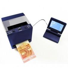 Verificatore di banconote automatico multi controllo che consente, con estrema velocità, la verifica di tutte le banconote Euro, Sterlina Inglese, Franco svizzero ed altre, con display separato dalla macchina dimensioni 115x115x115 mm