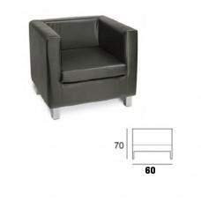 Divano 1 posto, modello SC-502 CUBE1, rivestimento ecopelle colore nero, struttura legno multistrato e gommapiuma, piedi in plastica cromati
