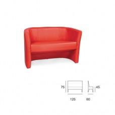 Divano a 2 posti, modello SC-501 DUKE2, rivestimento ecopelle colore rosso, struttura legno multistrato e gommapiuma