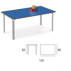 Banco esagonale con piano d'appoggio colore blu, ideale per scuola primaria e comunità. Modello SC-607