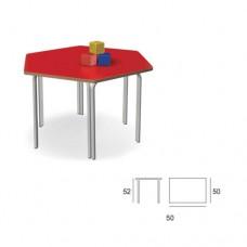 Banco esagonale con piano d'appoggio colore rosso, ideale per scuola primaria e comunità. Modello SC-606