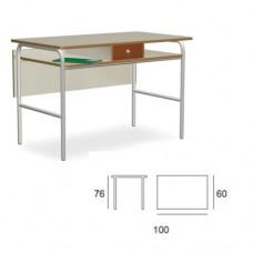 Cattedra docente con piano in magnolia e cassetto con chiave, ideale per la scuola e comunità. Modello SC-603