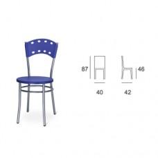 Sedia con struttura in alluminio, seduta chiusa in plastica blu, indicata per la casa e il ristorante. Modello SC-114 ANGELA