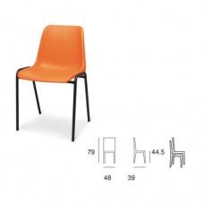 Sedia visitatore con scocca interamente in plastica colorata in arancio, ideale per uffici e sale d'attesa. Modello SC-307 MILENA