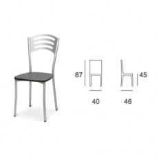 Sedia con struttura in alluminio e seduta in legno, indicata per la casa e il ristorante. Modello SC-116 MILLY