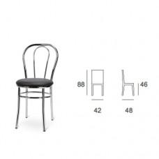 Sedia con struttura in alluminio, seduta chiusa imbottita colore nero, indicata per la casa e il ristorante. Modello SC-100 VIENNA