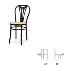 Sedia con telaio in tubolare verniciato nero, seduta in finta paglia, indicata per la casa e il ristorante. Modello SC-107 VIENNA BISTROT