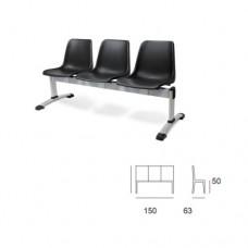 Panca d'attesa modello MILENA SC-307/P3, a 3 posti, seduta e schienale in plastica nera, struttura nera