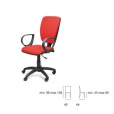 Sedia da ufficio, con braccioli fissi, seduta e schienale in tessuto rosso, Modello SC-312 NAPOLI