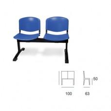Panca d'attesa modello GIOVE SC-305/P2, seduta blu in plastica a 2 posti, struttura nera