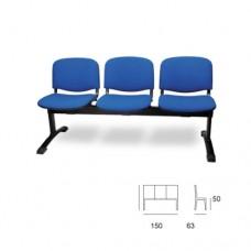 Panca d'attesa modello VENERE SC-302/P3, seduta in tessuto blu a 3 posti, struttura nera