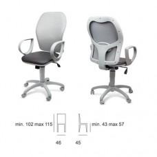 Sedia da ufficio, con braccioli fissi, seduta e schienale in ecopelle, Modello SC-Q3 380