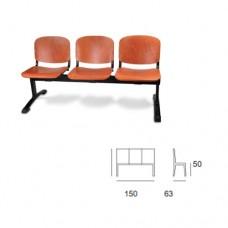 Panca d'attesa modello SATURNO SC-316/P3, a 3 posti, seduta e schienale in legno, struttura nera
